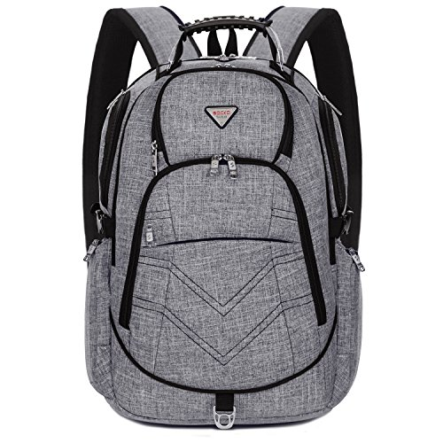 SOCKO Laptop Backpack 18.4 Inch, Nylon Water-Resistant Durable Travel Bag Hiking Knapsack Rucksack Backpack College Shoulder Back Pack for 18-18.4 Inches Laptop Notebook Computer,Grey