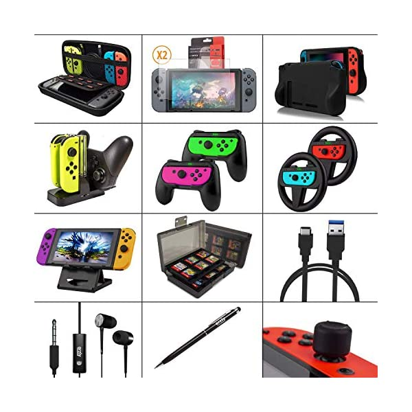 Switch Accessories Bundle - Orzly Geek Pack for Nintendo Switch: Case & Screen Protector, Joycon Grips & Racing Wheels… 2