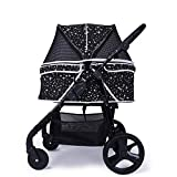 Pet Stroller Pet Travel Pushchair - Cat Dog Carrier Breathable Dog Pet Supplies Booster Seats with Large Storage Basket Easy to Fold - Black