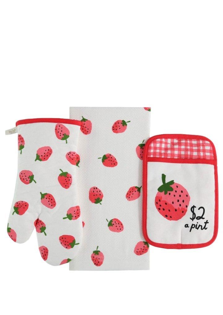 Kate Spade Fresh Strawberries (Hibiscus) Three Piece Kitchen Set - All In Good taste