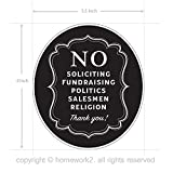 No Soliciting Sign Stickers for Home and Business, Vinyl Decals, UV Protected & Waterproof, 4 X 3.5 Inch - 4 Labels
