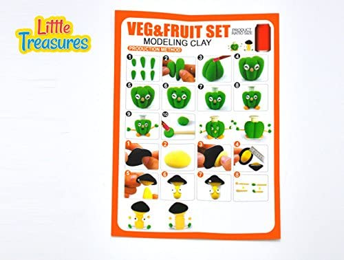fun arts /& craft kids artist toy project Clay modeling and sculpting DIY play-set Little Treasures 82-22 Veggies /& Fruit Molding play-dough kit 2-in-1 create your 3D fruits and vegetables