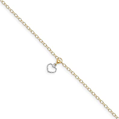 Sterling Silver Cabled Heart Dangle Charm with 1in Extender Anklet