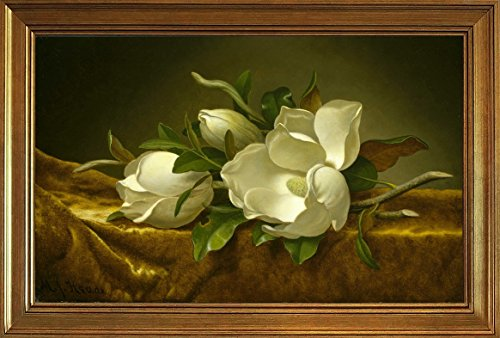 Berkin Arts Framed Martin Johnson Heade Giclee Canvas Print Paintings Poster Reproduction(Magnolias on Gold Velvet Cloth) ()
