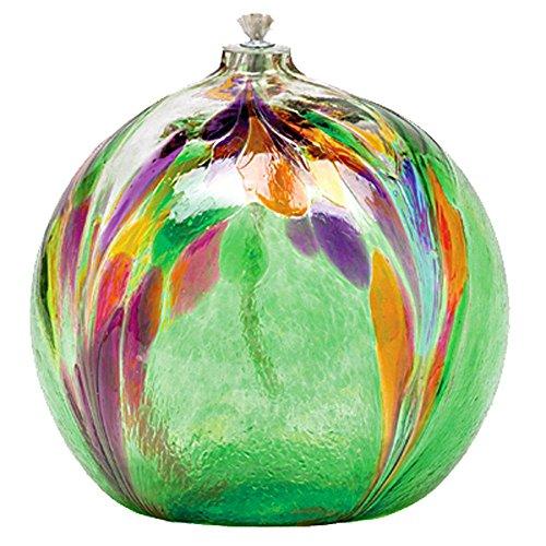 Kitras Art Glass 6'' Art Nouveau Oil Lamp in Mellow Green (Blown Glass Oil Lamp)