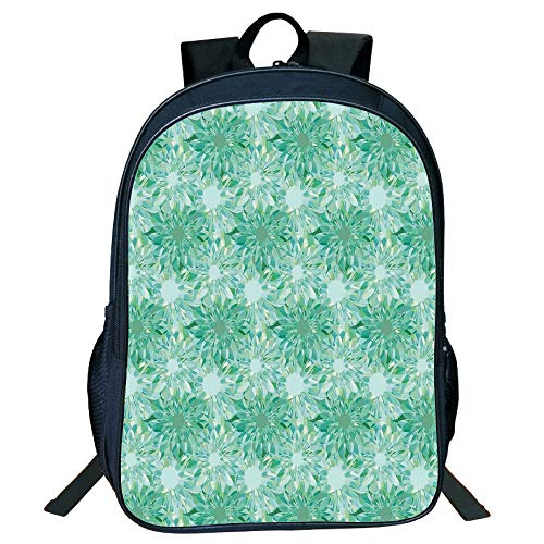 (Personal Tailor Black Double-deck Rucksackk,Turquoise Decor,Floral Pattern With Beryl Crystal Guilloche Flowers Carving Art Decorating Image Print,Green,for Kids,Diversified Design.15.7