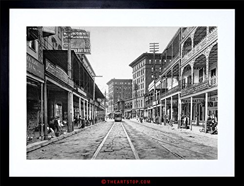 VINTAGE PHOTO ST CHARLES STREET 1900 NEW ORLEANS FRAMED PRINT F97X6463