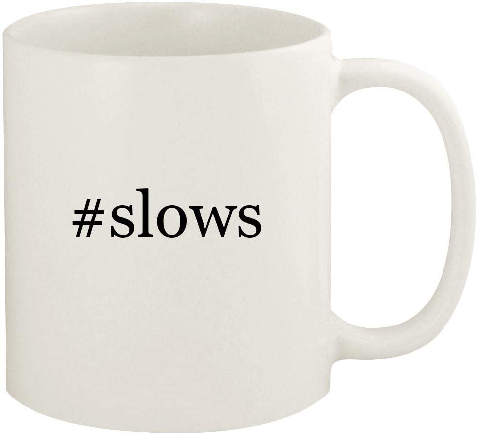 #slows - 11oz Hashtag Ceramic White Coffee Mug Cup, White