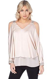 ea05c616aa703 Roman Originals Women Embellished Cold Shoulder Top - Ladies Satin Sparkly V-Neckline  Summer Evening