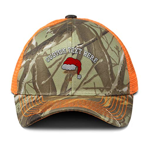 (Custom Camo Mesh Trucker Hat Santa Hat Embroidery Cotton Neon Hunting Baseball Cap Strap Closure One Size Orange Camo Personalized Text Here)