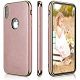 """LOHASIC iPhone Xs & iPhone X Case, Slim Fit Luxury Leather Pretty Girly Pink Cover Flexible Soft Grip Non-Slip Bumper Full Body Protective Phone Cases for Apple iPhone Xs X 10 5.8""""- Rose Gold"""