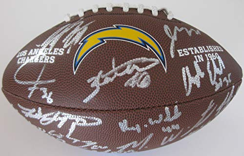 2018 Los Angeles Chargers, LA Chargers team signed autographed NFL logo football, COA and Proof Photos of the Chargers Signing Will Be -