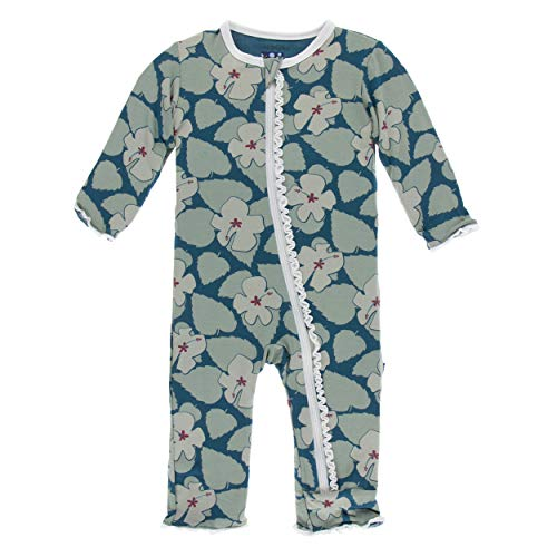 (Kickee Pants Little Girls Print Muffin Ruffle Coverall with Zipper - Oasis Hibiscus, 3T)