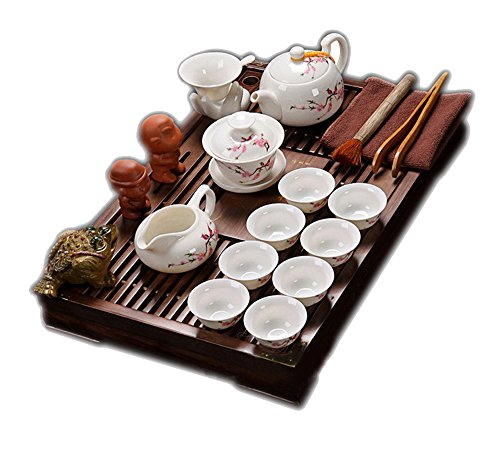 Price comparison product image ufengke®Exquisite Ceramic Porcelain kungfu Tea Cup Set with Lid and Wooden Tea Tray-D