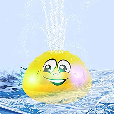 Sammious Bath Toy Space UFO Car Toys With LED Light Up Float Toys Bathtub Shower Pool Bathroom Toy for Baby Toddler Infant Kid 2 in 1 Spray Water Squirt Toy
