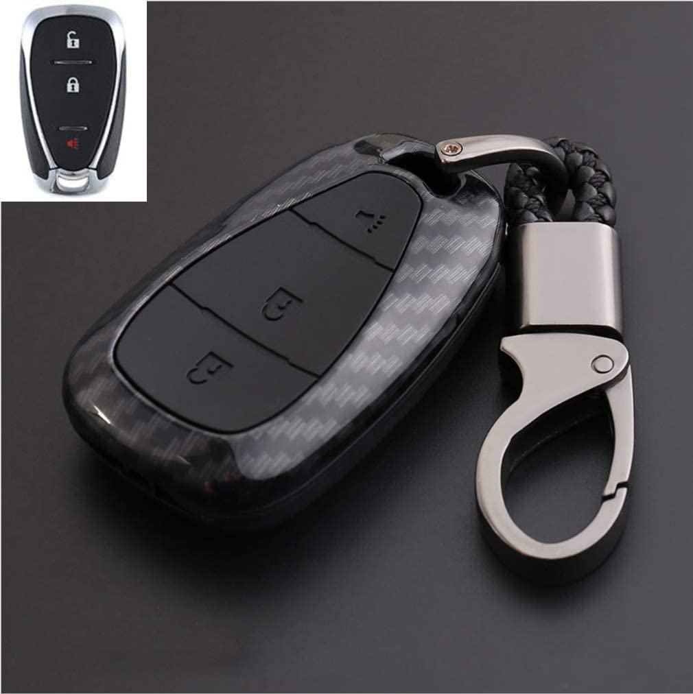 TANGSEN Key Fob Case for Chevrolet Camaro Cruze Equinox Malibu Orlando Sonic Spark GMC Terrain 5 Button Keyless Entry Remote Black Carbon Fiber Pattern ABS Black Silicone Cover