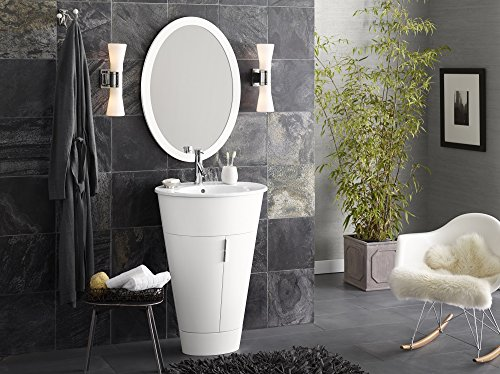 RONBOW Leonie 24 inch Single Bathroom Vanity Set in Glossy White, Bathroom Vanity Cabinet with Glass Shelf and Oval Mirror, White Oval Bathroom Sink Top with Single Faucet Hole 034723-E23_Kit_1 (Oval Ceramic Ronbow)