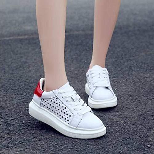 Rosa Blu Punta ZHZNVX Blue chiusa da donna Rosso pelle Scarpe piatto Estate Comfort Nappa Tacco Primavera Sneakers in aaFxq7ZwR