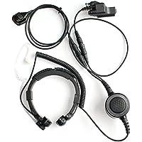 GoodQbuy Throat Mic Microphone Large Armpit PTT Covert Acoustic Tube Earpiece Headset With Finger PTT for Motorola HT1000 MT2000 MTS2000 GP900 XTS3000 Radio Security Door Supervisor