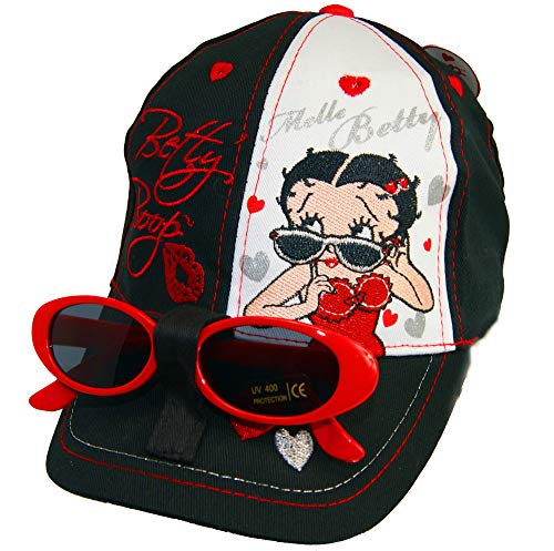 Betty Boop. Caps, with Glasses Cap,Baseball Cap,Adjustable,Official Licensed. (56cm/22, Black) -