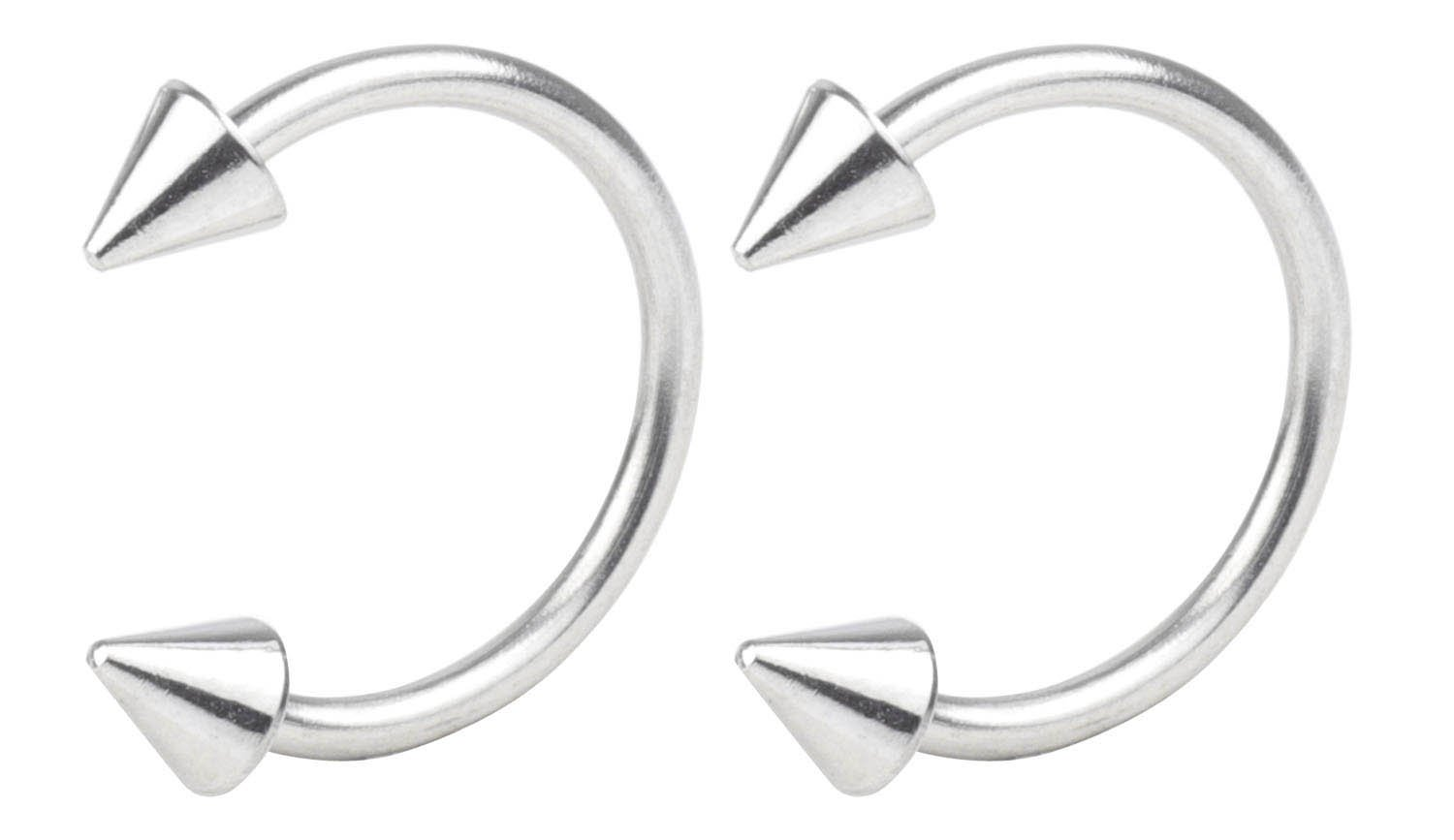 YNR's 2PCS 16G Stainless Steel Horseshoe Ring Stainless Steel Lip Cartilage Helix Tragus Smiley 3mm Spike 8mm Inner