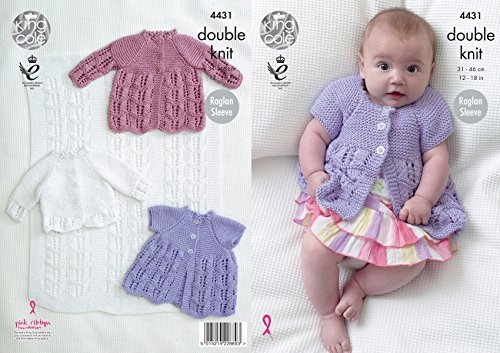 King Cole Baby Double Knitting Pattern Blanket Matinee Coats & Cardigan Cottonsoft DK (4431) by King Cole by King Cole