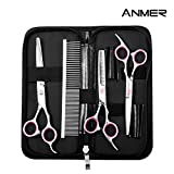 ANMER Pet Grooming Scissors Kits(4 pairs- For Body, Face, Ear, Nose, Paw) for Small, Medium & Large Dogs and Cats - Sharp and Strong Stainless Steel Blade without Harmful to Dogs and Cats
