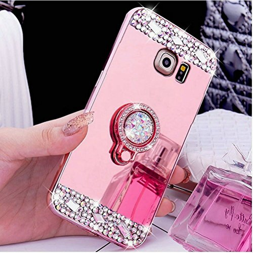 Galaxy S8 Case,Inspirationc Crystal Rhinestone Mirror Glass Case Bling Diamond Soft Rubber Makeup Case for Samsung Galaxy S8 with Detachable 360 Degree Ring Stand--Rose Gold