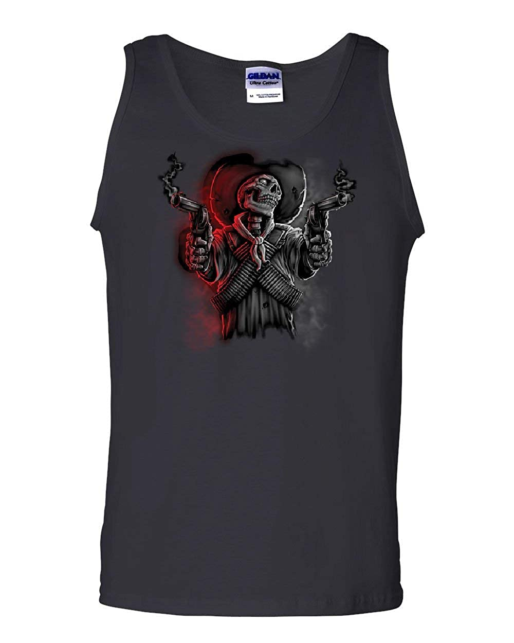 Tee Hunt Skeleton Bandit Tank Top Death Sheriff Wild West Revolvers Cowboy Sleeveless