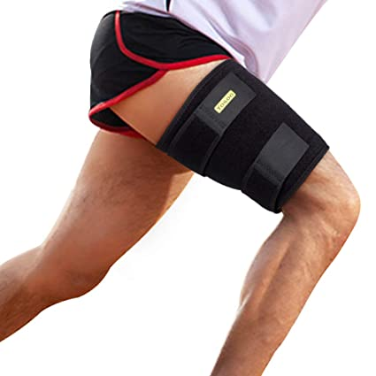 dbcdf0d8fa4770 Thigh Support, Thigh Brace with Silicone Anti-Slip Strips, Hamstring Wrap  Compression Sleeve
