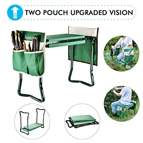 Garden Kneeler And Seat With 2 Bonus Tool Pouches - Portable Garden Bench EVA Foam Pad With Kneeling Pad for Gardening - Sturdy, Lightweight And Practical - Protect Knees And Clothes When Gardening (Garden Stool Kneeler)