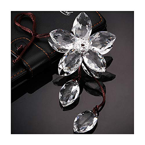 XIANGBAN Shining Crystal Flower Car Interior Decorative Lucky Ornaments K9 Car Pendant (Five Leaves - White)