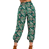 PENGYGY Women Ladies Printing Floral Pants Long Pants Baggy Leggings Plus Fashion Autumn and Winter Printed
