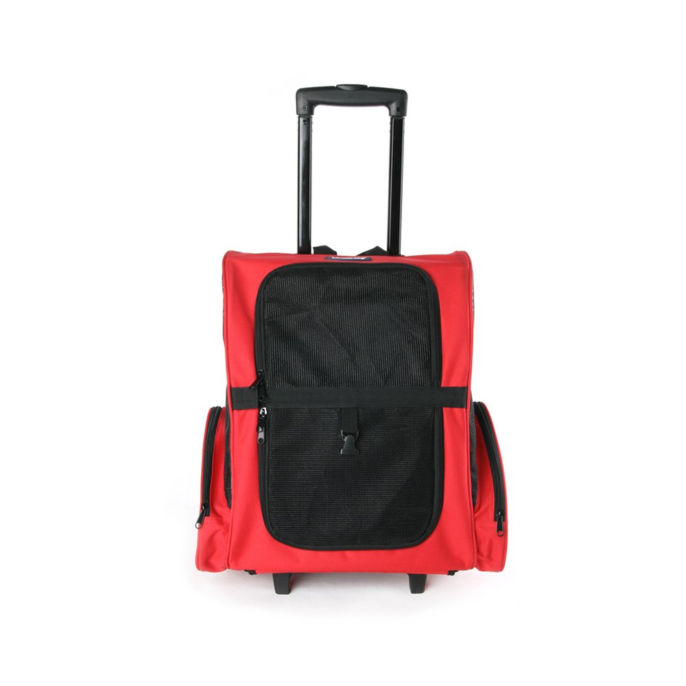 Red YQQ Pet Out of The Box Travel Trolley Kennel Pet Trolley Pet Bags Dog Bags Cat Pack Pet Supplies Breathable Convenience (color   RED)