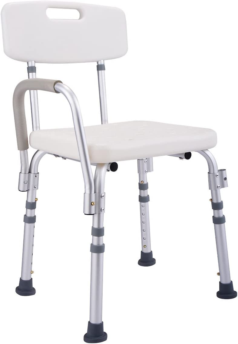 6 Height Adjustable Medical Shower Chair Stool Bath Tub w/ Back & Armrest New 61yBnwVDvaLSL1200_
