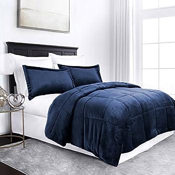 Sleep Restoration Micromink Goose Down Alternative Comforter Set - All Season Hotel Quality Luxury Hypoallergenic Comforter/Blanket with Shams -Full/Queen - Navy