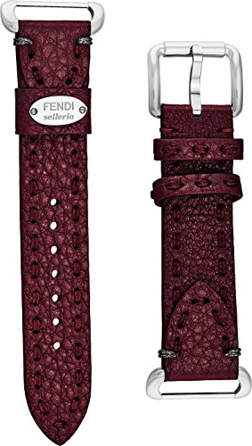 Fendi Selleria Interchangeable Replacement Watch Band - 18mm Bordeaux Calfskin Leather Strap with Pin Buckle - Brown Fendi