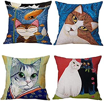Amazon.com: JES&MEDIS Cute Cartoon Cat Pattern Linen Cotton Throw ...