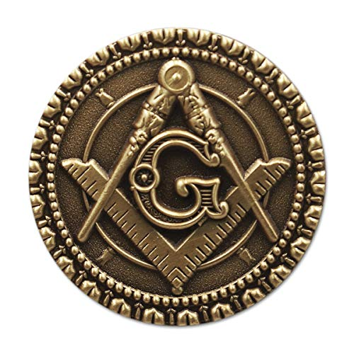 Square & Compass Round Antique Brass Freemasonic Lapel Pin - 1