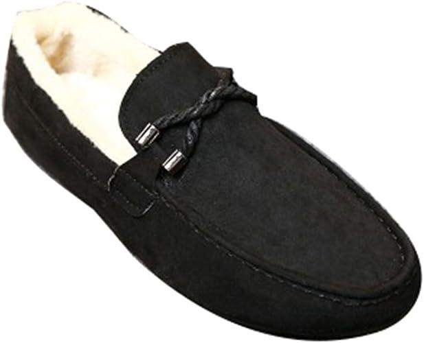 Juleya Herren Mokassins Hausschuhe Loafers Slippers Männer Warm Lammwolle Gefüttert Mokassin Winter Wildleder Halbschuhe Freizeitschuhe Schuhe Slipper