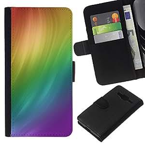LECELL--Cuero de la tarjeta la carpeta del tirón Smartphone Slots Protección Holder For Samsung Galaxy Core Prime -- Remolino del arco iris --