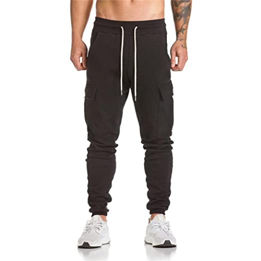 81018ba130 Men's Pant, Shybuy Men's Casual Slim Fit Cotton Chino Jogger Pants  Sportwear Fitted Workout Pants