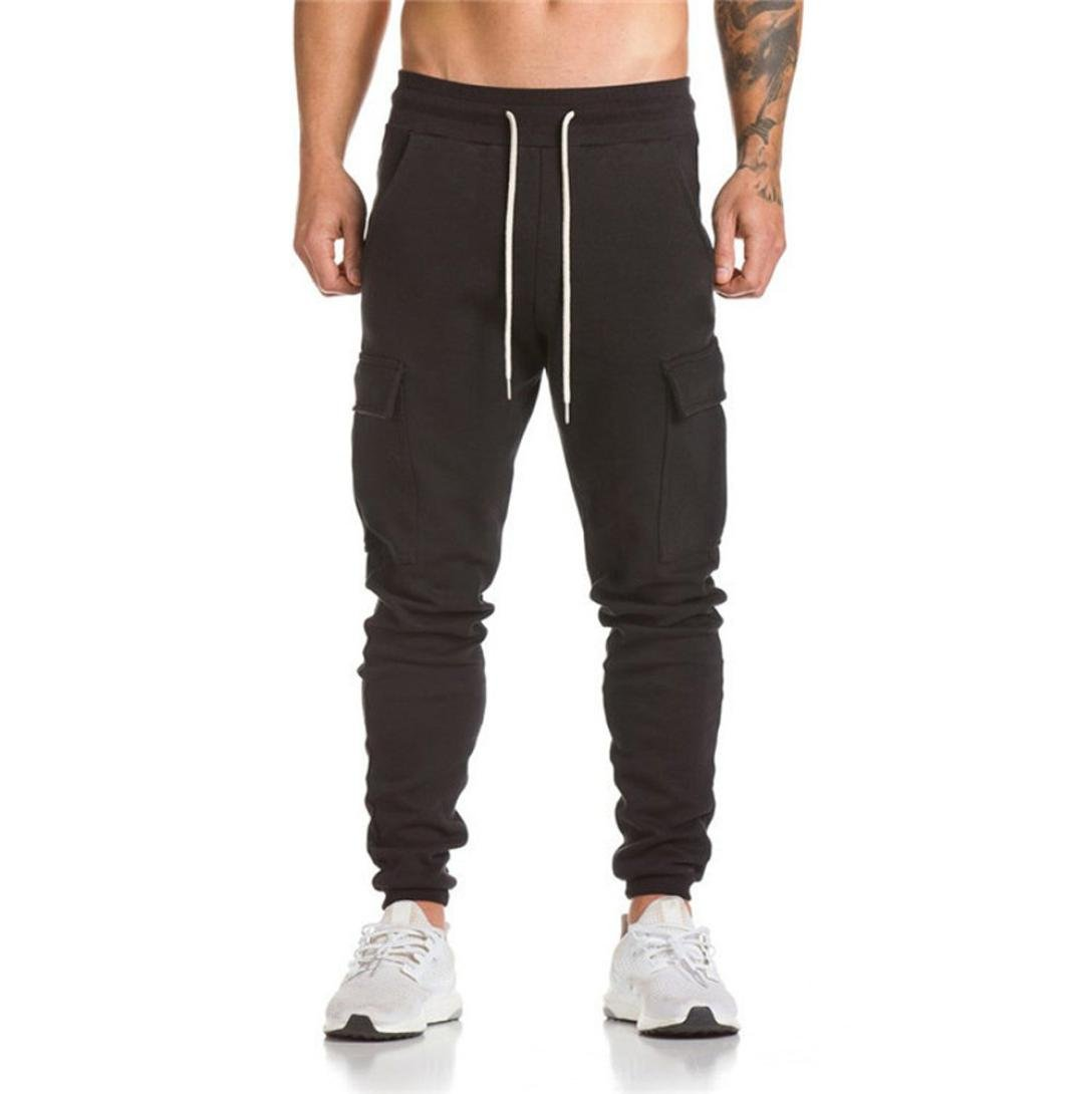 Men's Pant, Shybuy Men's Casual Slim Fit Cotton Chino Jogger Pants Sportwear Fitted Workout Pants (Black, 2XL)