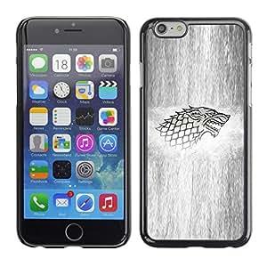 KLONGSHOP // Cubierta de piel con cierre a presión Shell trasero duro de goma Protección Caso - Lobo Sigil - Apple Iphone 6 Plus 5.5 //
