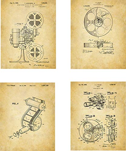 Film Production Patent Wall Art Prints - set of Four (8x10) Unframed - wall art decor for movie fans and directors ()