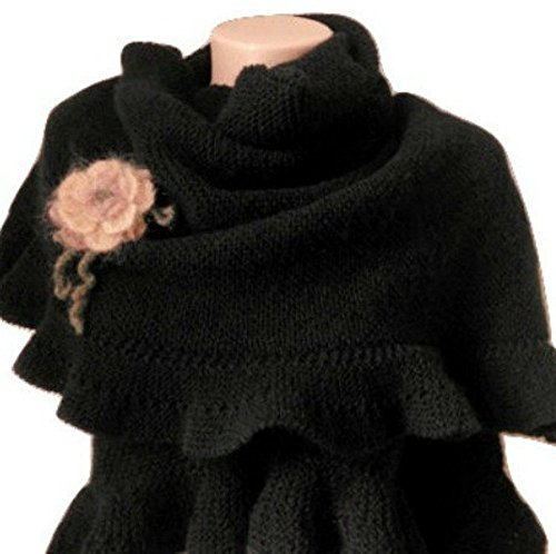Black Wool Ruffle Large Shawl Hand Knit by Jasmine Creations