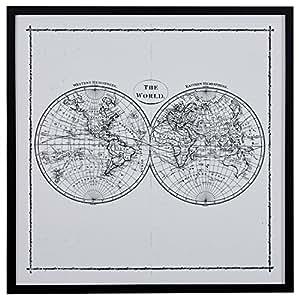 "World Map Hemisphere Print in Black and White, Black Frame, 30.5"" x 30.5"""