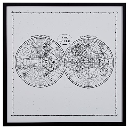 World Map Hemisphere Print in Black and White Vintage Wall Art, Black Frame, 30.5
