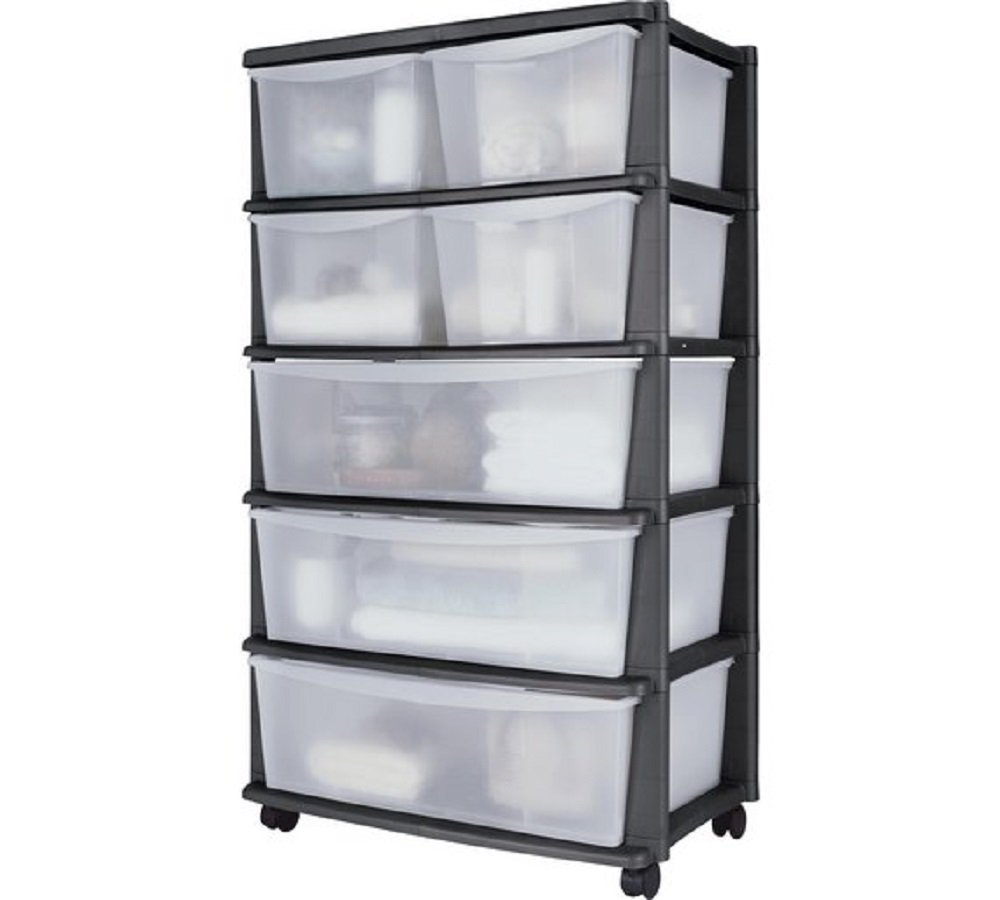 7 Drawer Plastic Wide Storage Chest - Black, Mounted on wheels for easy maneuverability, Size H103, W59, D39.5cm. ColourMatch