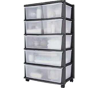 7 cajones anchos Plástico de almacenaje - negro, montado con ruedas para fácil maniobrabilidad, tamaño H103, W59, D39, 5 cm.